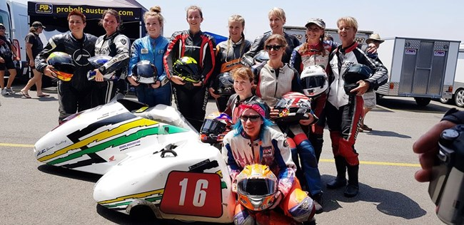 The sidecar girls that took part in the Island Classic 2018